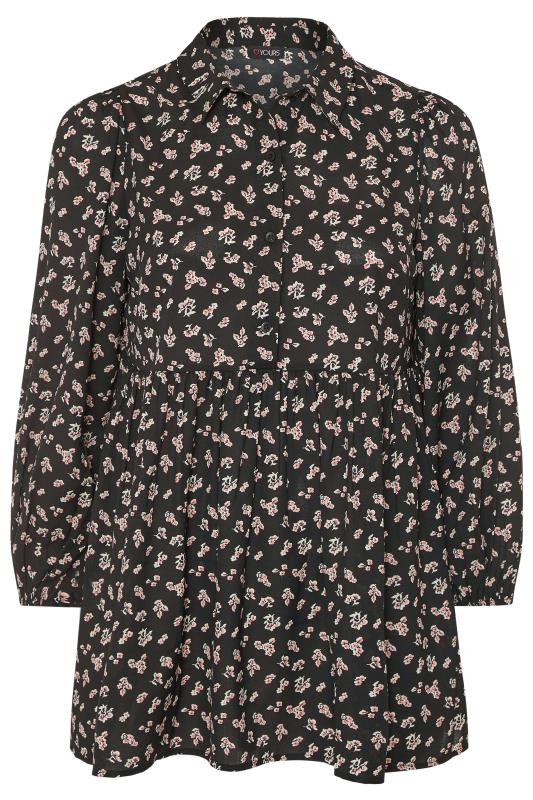 Black Floral Peplum Dipped Hem Shirt