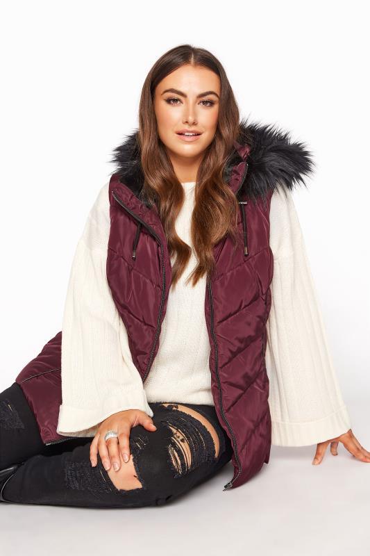 Plus Size  Burgundy Faux Fur Hood Padded Gilet
