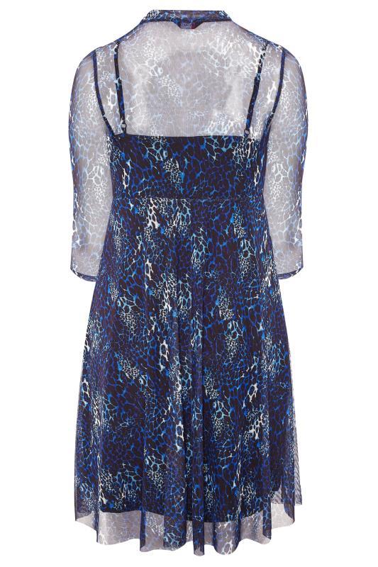 Cobalt Blue Animal Print Mesh 2 in 1 Dress