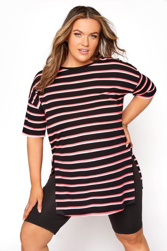 Plus Size  Black Stripe Oversized T-Shirt