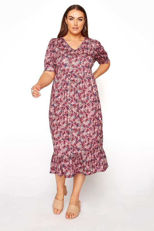YOURS LONDON Pink Ditsy Tiered Dress_A.jpg