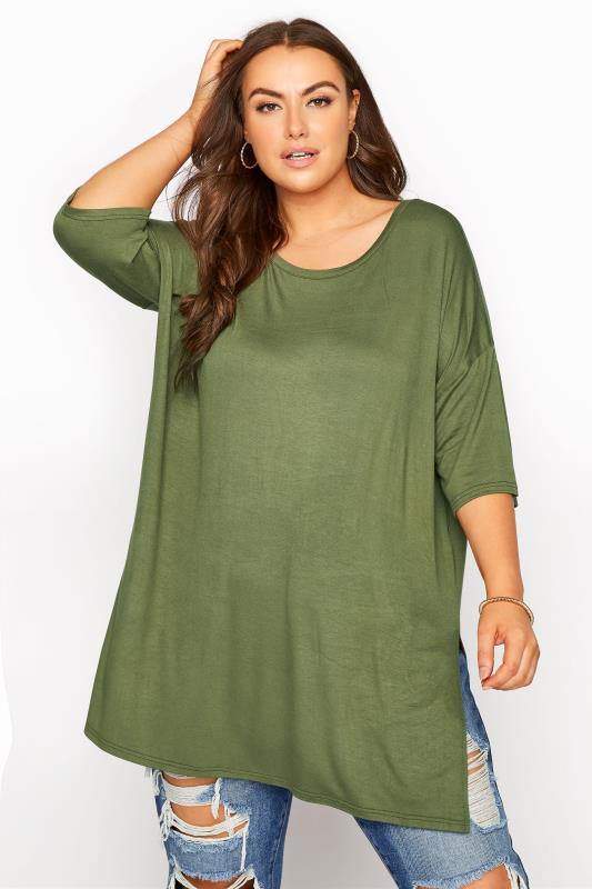 Plus Size  Khaki Oversized Jersey T-Shirt