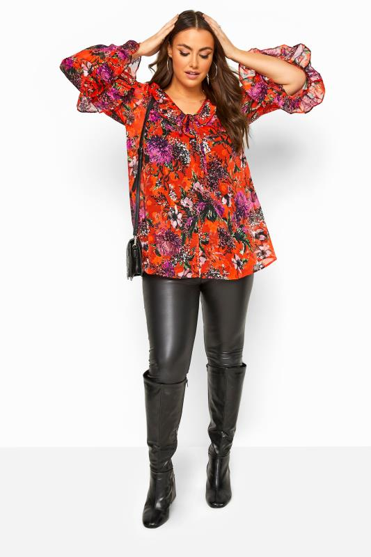 Red Floral Flare Sleeve Chiffon Top