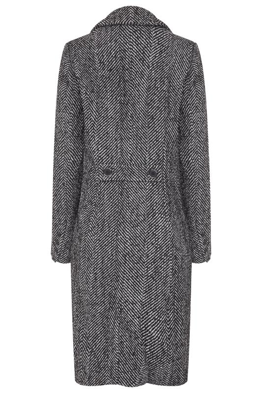 Black Wool Mix Herringbone Coat