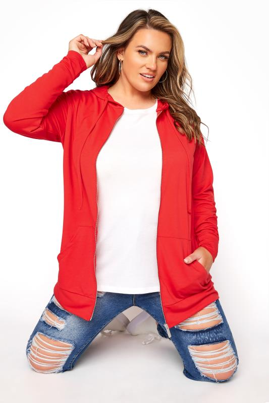 Plus Size  Red Zip Through Hoodie