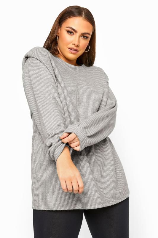 Grey Marl Shoulder Knitted Jumper