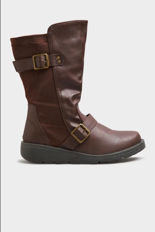 Brown Faux Leather Wedge Buckle Boots In Extra Wide Fit_A.jpg