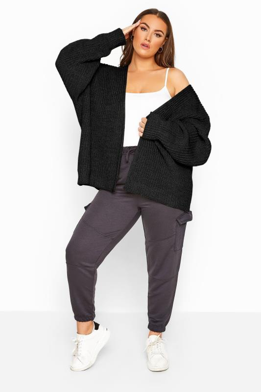 Plus Size Cardigans Black Oversized Chunky Knitted Cardigan