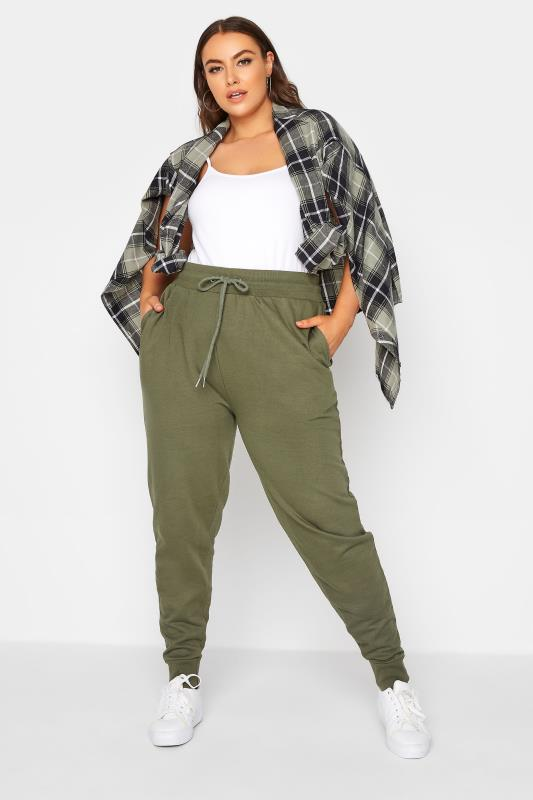 Plus Size  Khaki Green Basic Cuff Joggers