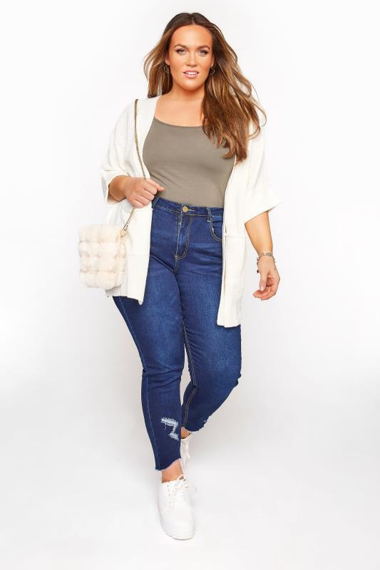 Cream 3/4 Length Sleeve Knitted Cardigan