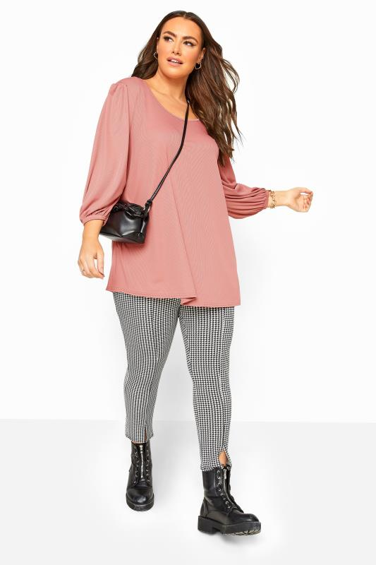 Blush Pink Ribbed Balloon Sleeve Swing Top