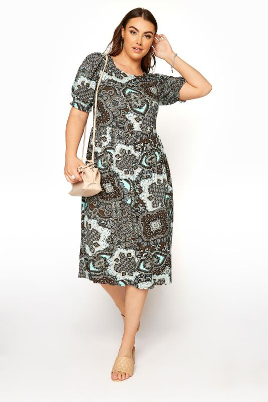 Plus Size  YOURS LONDON Brown Paisley Smock Dress