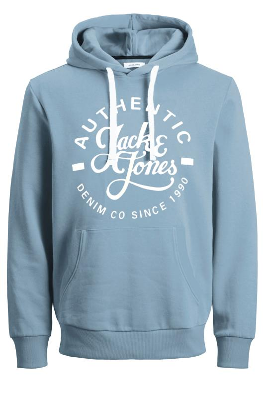 JACK & JONES Blue Hero Logo Print Hoodie