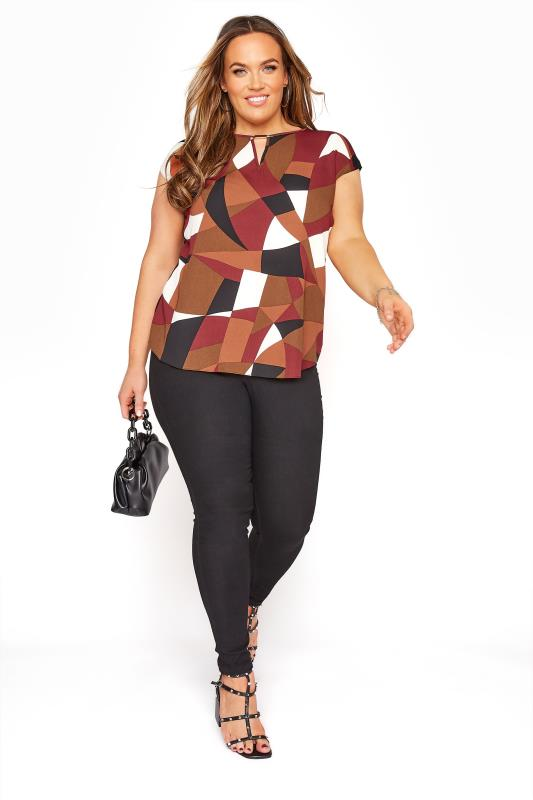 Black & Brown Tile Print Cut Out Blouse