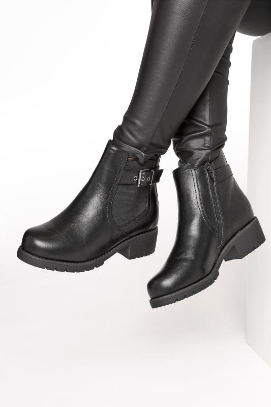Wide Fit Ankle Boots Black Chelsea Buckle Ankle Boots In Extra Wide Fit