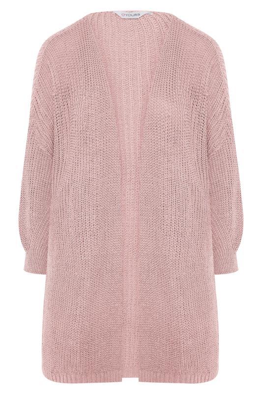 Pink Balloon Sleeve Loose Knit Cardigan_F.jpg