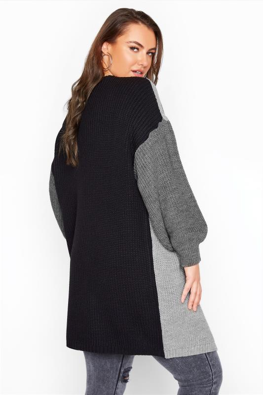 Grey Colour Block Oversized Knitted Cardigan