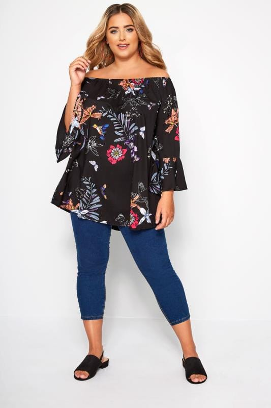 Black Floral Bell Sleeved Bardot Top