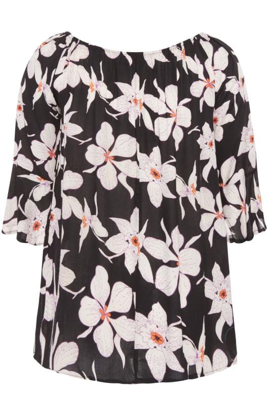 Black & White Floral Floral Bell Sleeved Bardot Top