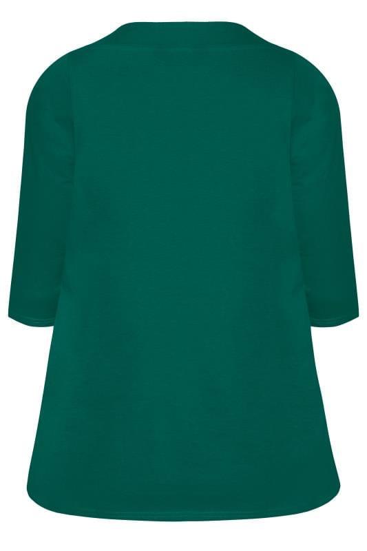 Dark Green 3/4 Length Sleeve Jersey Top