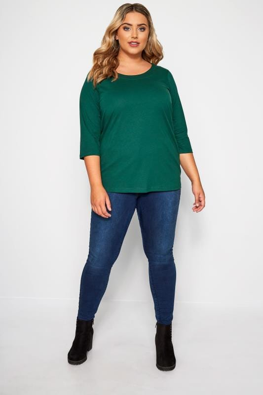 Dark Green 3/4 Length Sleeve Jersey Top