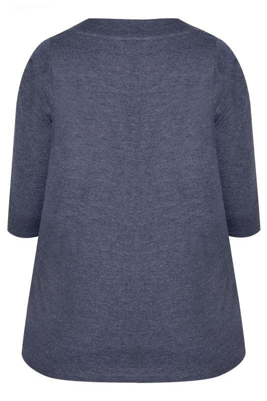 Blue Marl 3/4 Length Sleeve Jersey Top