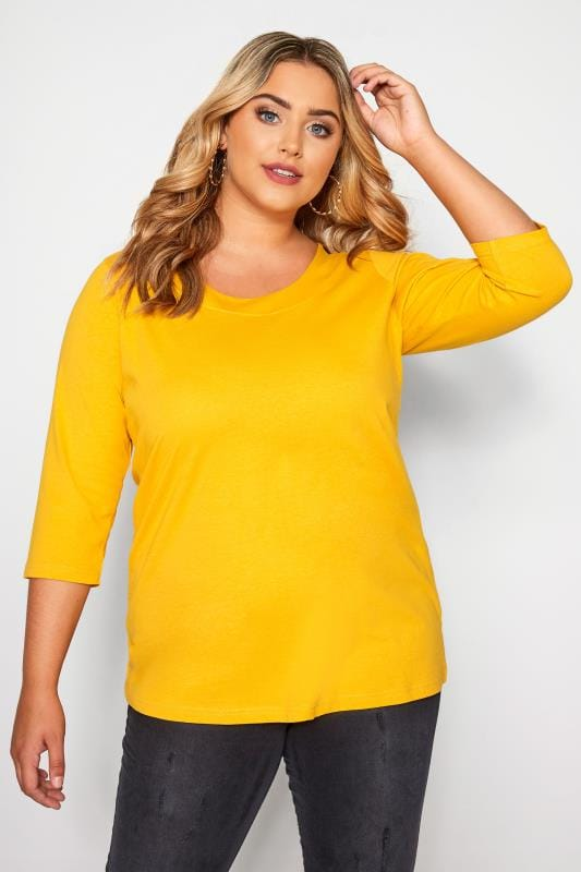 Mustard 3/4 Length Sleeve Jersey Top