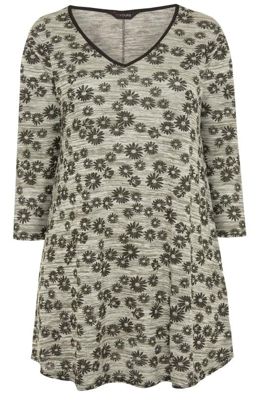 Plus Size Knitted Tops & Jumpers Khaki Green Marl Daisy Print Swing Top