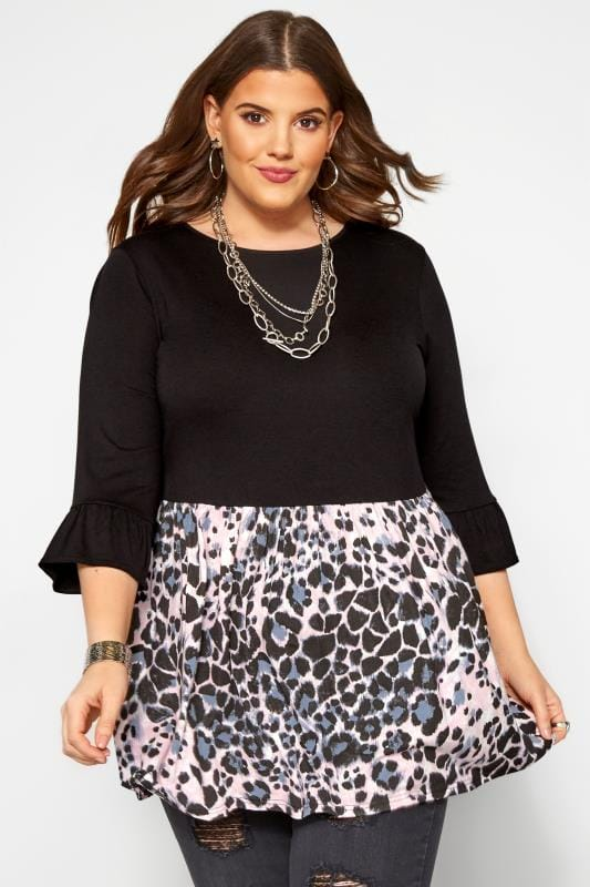 Plus Size Jersey Tops Black Mixed Animal Colour Block Peplum Top