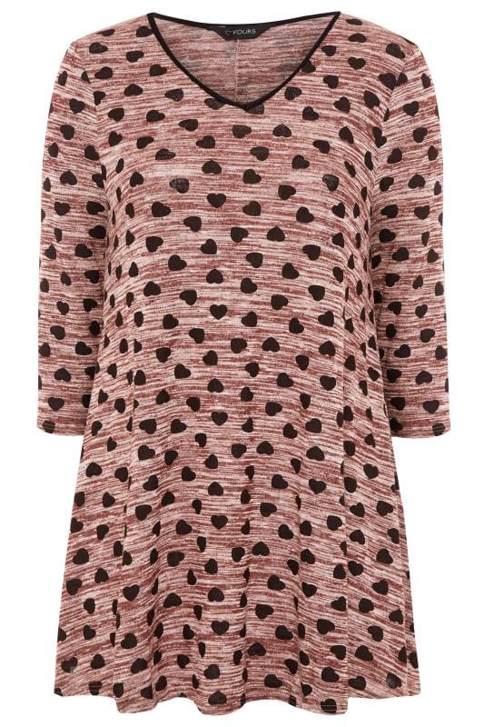 Wine Red Marl Heart Print Swing Top