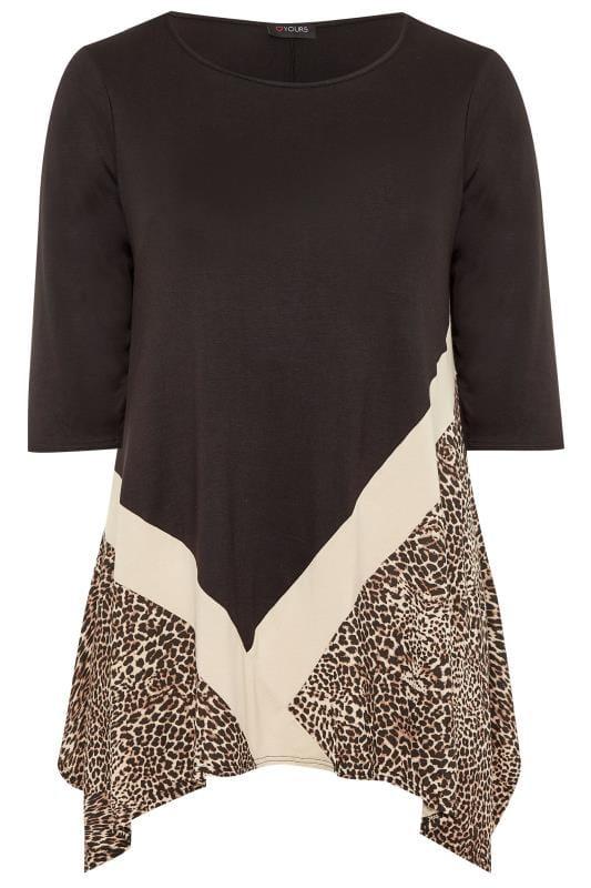 Plus Size Day Tops Black Leopard Colour Block Top
