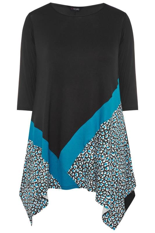 Black & Teal Blue Leopard Colour Block Top