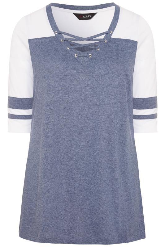 Plus Size Jersey Tops Blue Marl Lattice Varsity Top