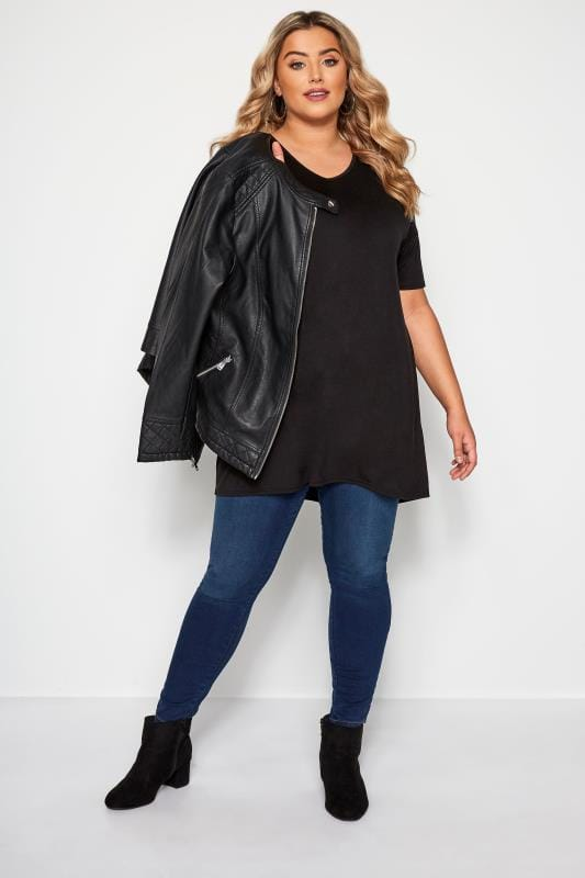 Black Cut Out Longline Top