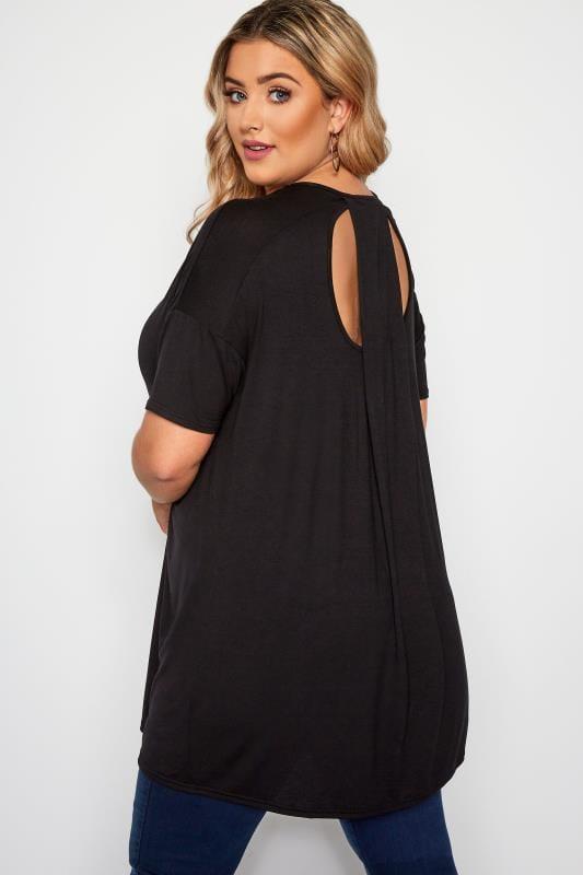 Plus Size Jersey Tops Black Cut Out Longline Top
