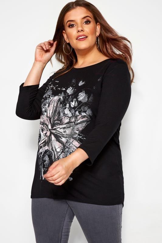 Plus Size Floral Tops Black Floral Jersey Top