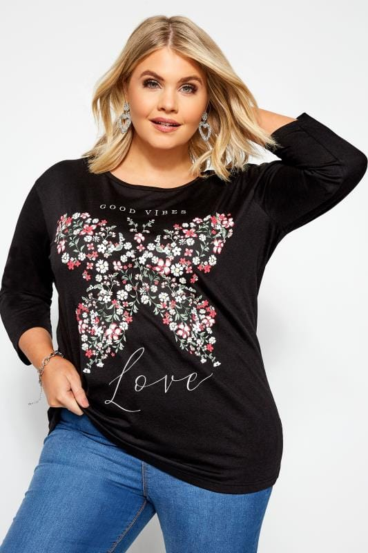 Black Floral Butterfly Print Top