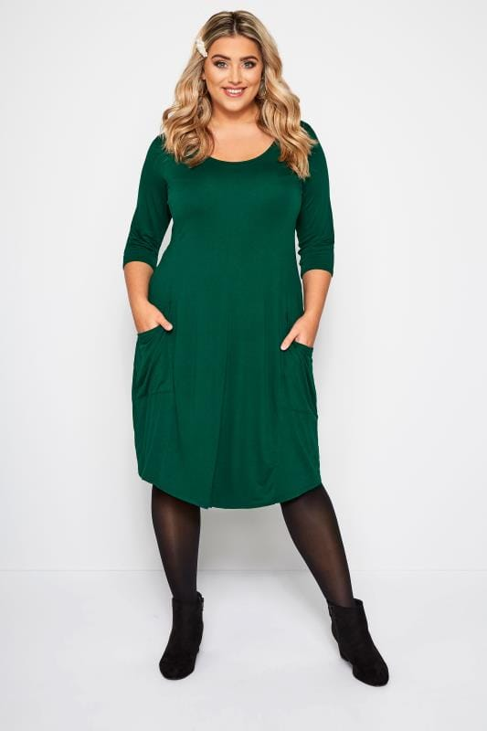 Dark Green Drape Pocket Dress