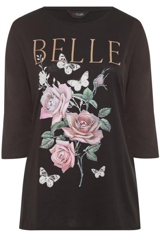 Black Glitter Floral Slogan Top