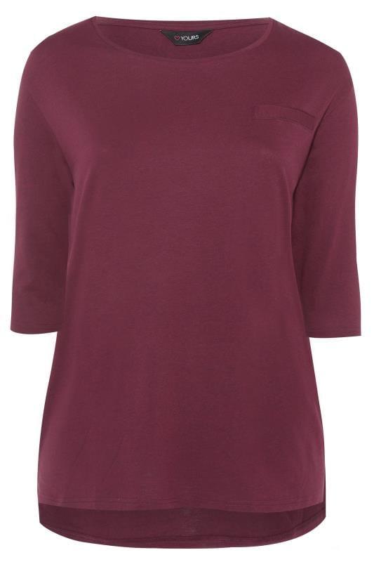 Berry 3/4 Length Sleeve Mock Pocket Top