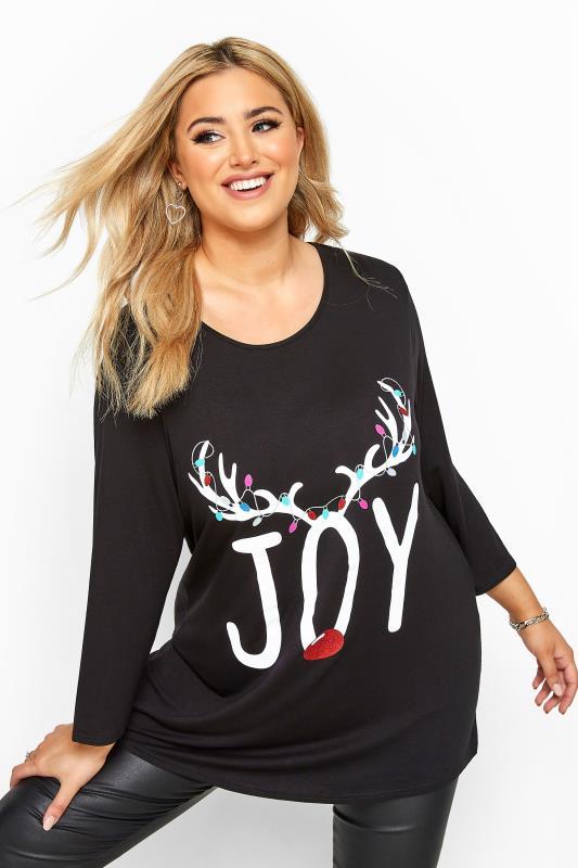 Plus Size Face Masks Black 'Joy' Slogan Reindeer Christmas Dipped Hem Top