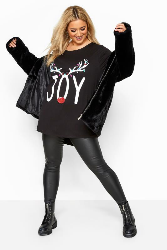 Black 'Joy' Slogan Reindeer Christmas Dipped Hem Top