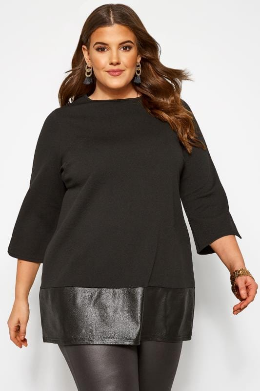Plus Size Party Tops Black Wet Look Hem Peplum Top