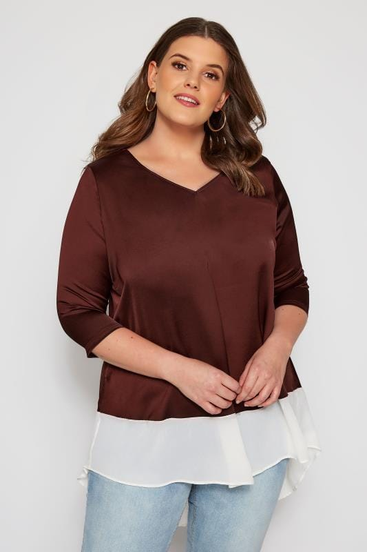 Plus Size Day Tops SIZE UP Dark Burgundy Layered Effect Top