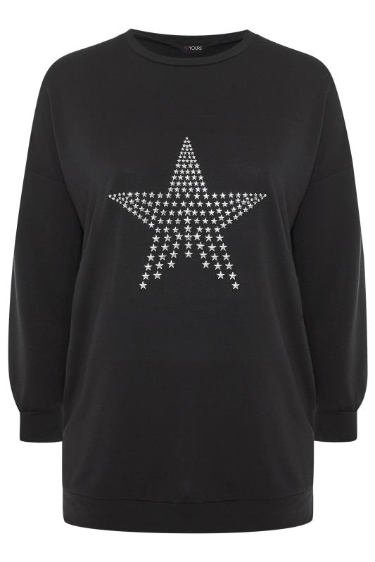 Black Stud Star Knitted Top