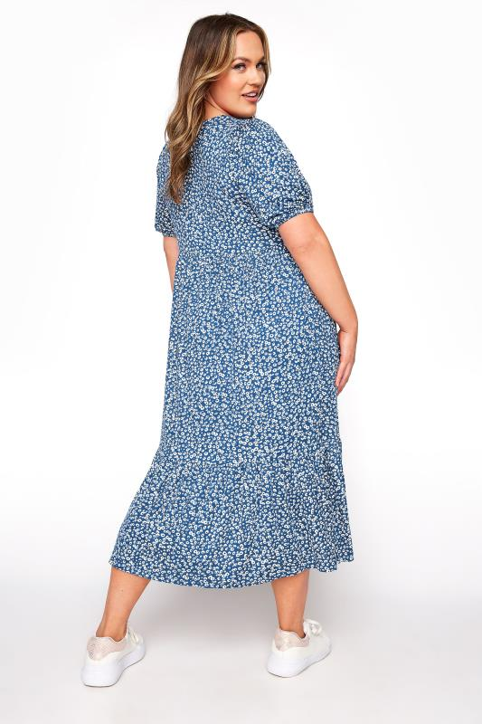 Blue Ditsy Frill Hem Puff Sleeve Midi Smock Dress_C.jpg