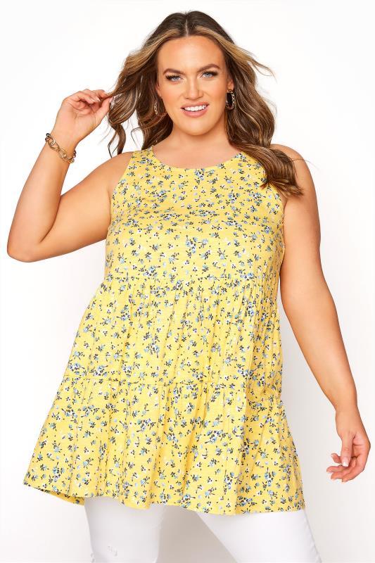 Plus Size  Lemon Yellow Ditsy Tiered Peplum Vest