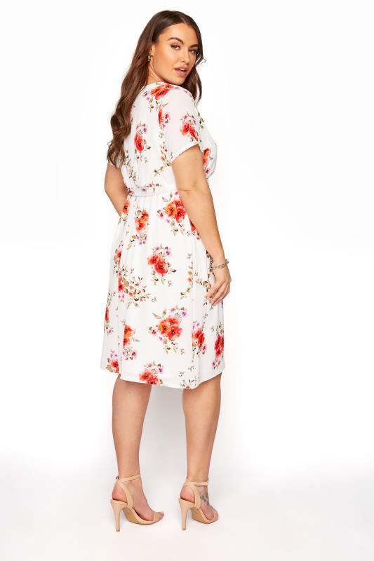 YOURS LONDON Orange Floral Short Sleeve Wrap Dress_C.jpg