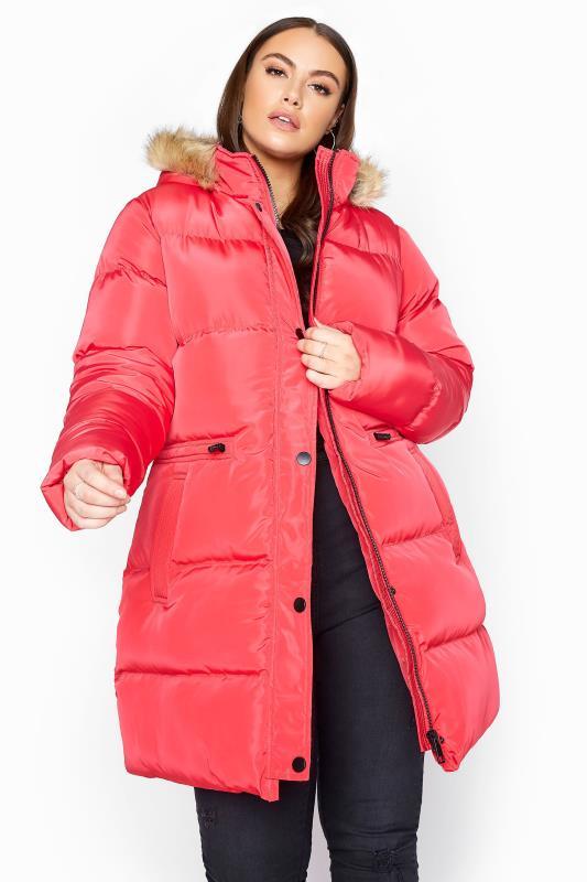 Plus Size  Pink Longline Padded Coat