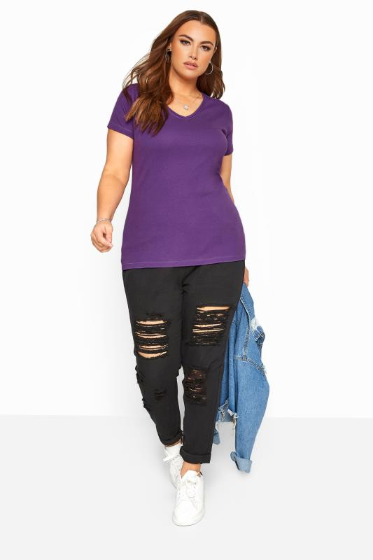 Purple V-Neck Plain T-Shirt